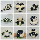 WEDDING FLOWERS BRIDAL PACKAGE BOUQUET POSY WAND BUTTONHOLE NAVY BLUE + IVORY