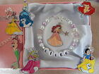 Disney Princess Personalised Bracelet Childs Ariel Beauty Belle Gift Box or Bag