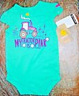 Carhartt infant girls 1-piece auqa body suit w/snap closures 'My tractor is Pink