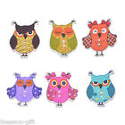 30PCs Owl Shape 2 Holes Wooden Buttons Fit Sewing Scrapbooking Craft 3.4x2.8cm