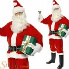 Deluxe Santa Costume Suit Father Christmas Fancy Dress Adult Xmas Mens Outfit