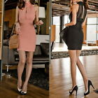 Lady Fashion Pencil Bodycon Dress Women High Collar Chiffon Slim Short Free Size