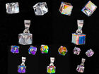 Genuine SWAROVSKI Crystal Stud earrings pendant SET CUBE 6mm 925 STERLING SILVER