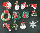 12pcs Multicolor Enamel Alloy Christmas Charms Dangle Beads Jewelry Findings U2