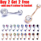 316L Surgical Steel Belly Bar Navel Button Ring Double Crystal Gem Body Piercing