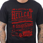 Steady Clothing Men's Hell Cat T-Shirt Rockabilly Skull Hot Rod Kustom Kulture