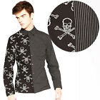 Tripp NYC Split Skull Stripe Shirt Men's Rockabilly Horror Punk Gothic Skulls
