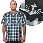 Steady Clothing Anchors Away Check Western Style Shirt Nautical Rockabilly Punk