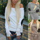 Women's Casual Off Shoulder Splicing Long Sleeve Top Blouse Jumper Tee T-shirts