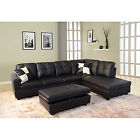 Leather Sofa Couch Right Hand Facing Sectional Modern Contemporary Furniture