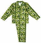 Boys Camo Army Camouflage Wincyette Button Up Cotton Pyjamas 7 to 13 Years