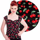 Hell Bunny Cherry Pie Blouse Top Rockabilly Pin Up Office Vintage Retro Cute