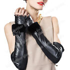 Women's Evening Opera Long Genuine Leather Fingerless Gloves For Lady With Fur