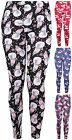 Womens Plus Size Snowman Santa Hat Print Ladies Christmas Legging Pants Trousers