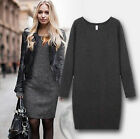Women Winter Dress Pure Color Casual Dress Long Sleeve Sexy Slim Dresses Cozy