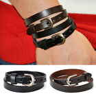Cool 2 Layer Punk Belt Mens Leather Bracelet Wristband Cuff Bangle Brown/Black