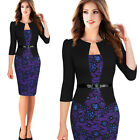 Women Belted Fake Two Piece Lace Flower Slim Party Business Formal Pencil Dress