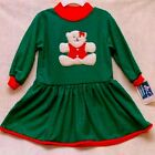 NEW TEXTURED GREEN Long Sleeve DRESS*RED KNIT NECK-CUFFS-HEM-FLUFFY BEAR!! 2T&3T