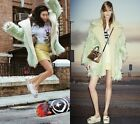 Fashion Women's Oversize Mint Green Baggy Faul Lamb Wool Fur Coat Jacket Outwear