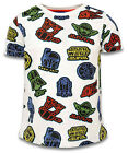 Boys Star Wars White All Over Logo Yoda Print Cotton T-Shirt 3 to 7 Years NEW