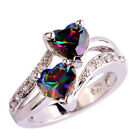 Heart Rainbow & White Gemstone Silver Women Ring Size 6 7 8 9 10 11 12 Free Ship