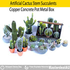 Artificial Cactus Stem Succulents Copper Concrete Pot Metal Garden Box Xmas Gift