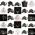 Elegant New Women Crystal Gold Necklace Earrings Bracelet Ring Jewelry Sets CC17