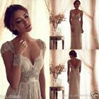 Vintage Lace Bridal Gown Scoop Neck Beach Wedding Dress Custom 2 4 6 8 10 12 14+