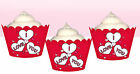 I Love You Love Hearts Valentines Day Heart Party Wraps Cupcake Cases Wrappers