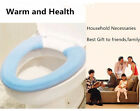 Soft Top Toilet Seat Lid Cover Pad Button Closestool Warmer Cozy Washable Blue