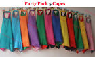 70cm - Party Pack 5 capes - REVERSIBLE Solid Two Colored Satin Superhero Cape