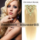 100% Real Clip In Human Hair Extensions Premium Wholesale Price Full Head Black
