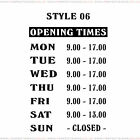 Opening Hours Times Custom Shop Window Sign Style 06 Wall Vinyl Small Sticker