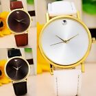 Womens Fashion DRESS Watch Simple Dial Faux Leather Casual Quartz Watches часы