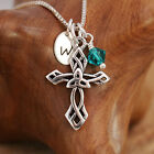 Sterling Silver Personalised Celtic Crusade Cross Pendant Necklace & Birthstone