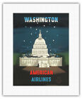 Washington DC Capitol Building Vintage American Airlines Travel Art Print Giclée