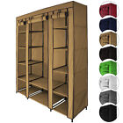 Canvas Fabric Wardrobe MAXI 150 x 45 x 175 cm with Hanging Rail Clothes Storage