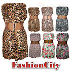 Womens Ladies Leopard/Floral Belted Shearing Boob Tube Dress Top 8-14