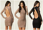 Honor Gold BNWT NEW Lace Backless Halterneck Bodycon Bandage Party Club Dress