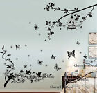 Bird Cage Tree Butterfly Vine Flowers Wall Stickers Home Decor Mural Paper Uk