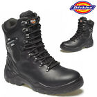 MENS DICKIES LEATHER SAFETY WORK HI BOOTS HIKER ANKLE MILITARY STEEL TOE CAP ZIP
