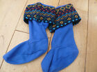 MARKS AND SPENCER BLUE FAIRISLE KNITTED AND FLEECE WELLY LINER SOCKS 4 6 8 NEW