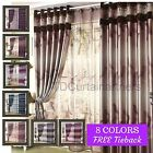 Blackout Coffee*Latte*Brown*Purple*Plum*Blue Valance Curtain Drapes+Sheer Eyelet