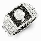 Sterling Silver W/ Rhodium-plated Black Diamond Square Skull Men's Ring