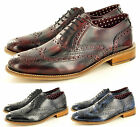 London Brogues Mens Leather Lace Up Wingtip Formal GATSBY Brogue Formal Shoes