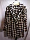 MISSES BLACK BROWN CREME HOUNDS TOOTH WOVEN JACKET SHAWL COLLAR CHICOS 3 L/XL