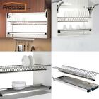 Stainless Steel 2-tier Dish Drying Rack For Kitchen Cabinet Plate Bowl Organizer
