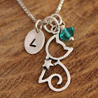 925 Sterling Silver Personalised Cat & Star Collar Pendant Necklace & Birthstone