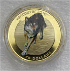 2009 CANADA 2010 OLYMPICS $75 DOLLARS GOLD COIN COLOR  WOLF EARLY STRIKE #583