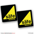 2 X GAS SAFE Register Self Adhesive Vinyl Printed Vehicle Stickers 150mm x 160mm